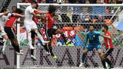 Acción del gol de José María Giménez. El defensa central del Atlético de Madrid se levantó entre sus marcadores y le dio al balón un certero cabezazo.