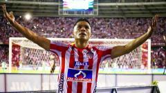 Así festejó Teófilo Gutiérrez uno de sus dos goles anoche ante Atlético Nacional, en el estadio Metropolitano.