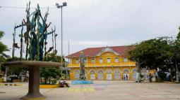 Aspecto  de la plaza principal del municipio de  Puerto Colombia.