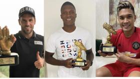 Sebastián Viera, Germán Mera y Teófilo Gutiérrez, tres de los jugadores de Junior que recibieron sus trofeos como los mejores en su respectiva posición.