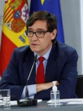 El ministro de Sanidad, Salvador Illa, comparece en la rueda de prensa posterior al Consejo de Ministros este martes en Madrid.