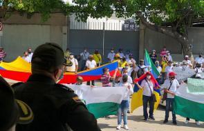 Marcha en apoyo a la Policía Nacional en Barranquilla