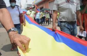 En imágenes | Así avanza la marcha de las centrales obreras en Barranquilla