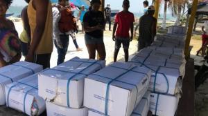 Parte de la donación de pescado entregado por personal de la Estación de Guardacostas de Cartagena.