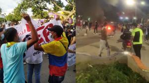 Desmanes durante protesta en Valledupar