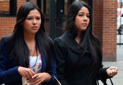 Moreno y Jessy Quintero a la salida de una audiencia en Paloquemao.