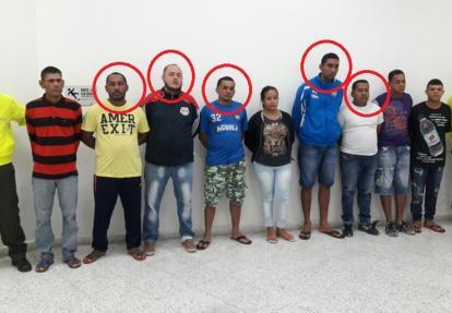 En la imagen, señalados por círculo, los 5 individuos que salieron en libertad.
