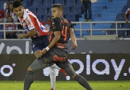 Luis Díaz, uno de los dos jugadores que más goles tiene este semestre en Junior con tres, marcándole al DIM.