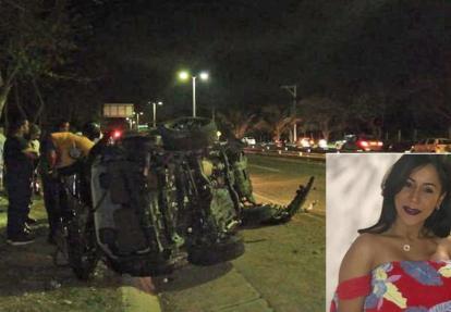 La camioneta en la que se movilizaba Tania María Guillot De Luque, de 44 años, sufrió volcamiento lateral tras perder el control.