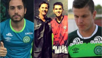 De izquierda a derecha: Alejandro Martinuccio, Caio y su hijo Matheus; el golero Marcelo Boeck.