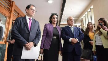 La terna para Fiscal saliendo de la audiencia pública de aspirantes realizada por la Corte Suprema de Justicia, el pasado jueves.