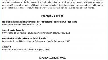 Candidatos junta directiva de Triple A    María Virginia Torres de Cristancho