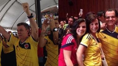 Santos y Zuluaga se unieron al triunfo de la selección y celebraron cada gol