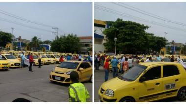 Taxistas de Barranquilla se unieron a protesta nacional con una