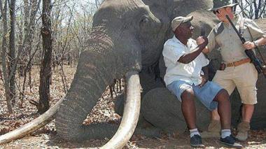 Una de las fotos tomada por el alemán luego de haber matado al animal.