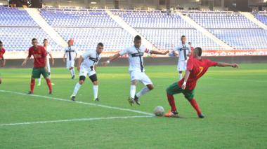 Acción del duelo de ida entre Barranquilla y el Parma.