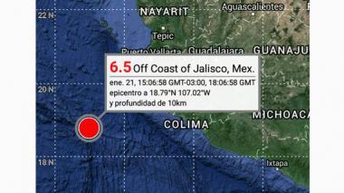 Sismo de magnitud 6,5 en la escala Richter sacude costa del Pacífico mexicano