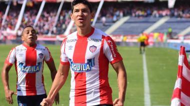 Roberto Ovelar celebra el tanto que le dio los tres puntos al cuadro barranquillero ante Jaguares en la jornada pasada.