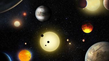 Recreación artística de los planetas identificados por el telescopio espacial Kepler de la NASA.
