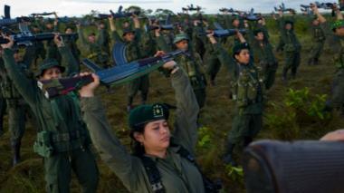 Un grupo de integrantes de las Farc, durante un entrenamiento.