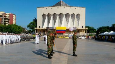 Acto en la plaza de la paz en Barranquilla.