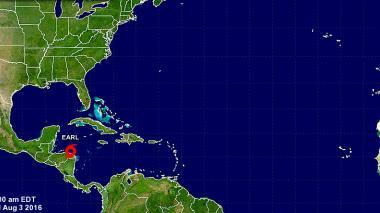 Ubicación de la tormenta tropical