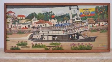 Cuadro del artista Noé León donde retrata al río Magdalena y a un pueblo ribereño.