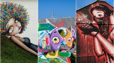 Graffiti de Vinie, artista originaria de Tolouse. Shot, diseñador gráfico de la Universidad Autónoma del Caribe, no se define con un único estilo. Goin, de Grenoble, Francia, sus murales tienen un espíritu contestatario y contenido social.