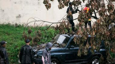 Unos bomberos retiran un árbol caído, por el paso del ciclón Enawo, sobre un coche en Antananarivo.