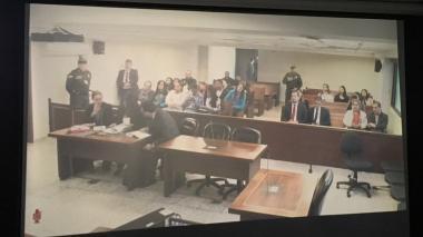Aspecto de la audiencia en la que un juez de la República leerá sentencia en contra de Rafael Uribe Noguera.
