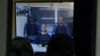 Rafael Uribe Noguera en videoconferencia desde La Picota, el pasado 6 de febrero.