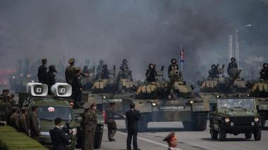 Aspecto del desfile militar cumplido este sábado.