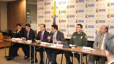 El mintransporte, Jorge Rojas, durante su intervención.
