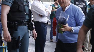 Ignacio González, en su traslado este miércoles en Madrid.
