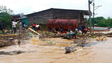 Una de las zonas afectadas en Chocó por el desbordamiento de dos ríos.