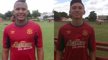 Juan Vidal y Fabián Steven Ángel, delantero y volante del Barranquilla FC, respectivamente.