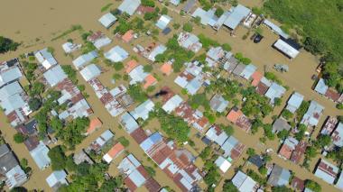 Aspecto de Nechí, Antioquia , inundado totalmente por el desbordamiento del río Cauca.