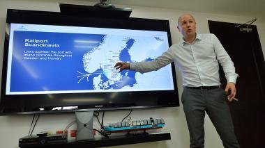 Jacob Minnhagen es uno de los invitados al encuentro portuario, y ayer estuvo en las oficinas del Puerto de Barranquilla-Sociedad Portuaria.