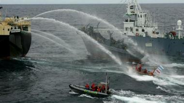 Acción de Greenpeace contra la flota ballenera japonesa. Los barcos de Greenpeace el Arctic Sunrise y el Esperanza tratan de obstaculizar la caza de ballenas.