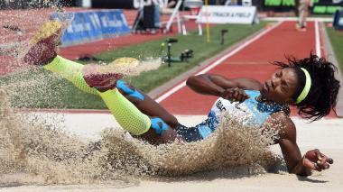 La colombiana Caterine Ibargüen se impuso con un salto de 14 metros y 51 centímetros de distancia.