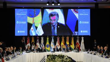 Presidente de Argentina, Mauricio Macri, durante inicio de la cumbre de Mercosur en Mendoza, Argentina.