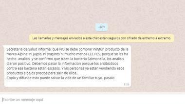 Secretaría de Salud desmiente mensaje sobre brote de salmonella en lácteos y refrescos