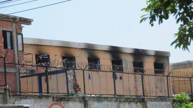 Aspecto del incendio ocurrido en la cárcel Modelo.