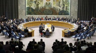 Aspecto de una sesión en pleno del Consejo de Seguridad de la Organización de las Naciones Unidas, ONU.