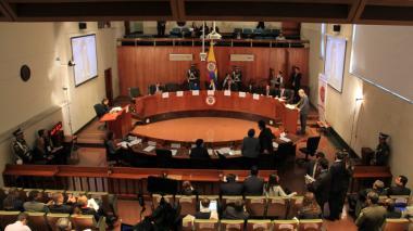 Aspecto de una audiencia pública en las instalaciones de la Corte Constitucional.