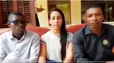 Yuberjén Martínez, Mariana Pajón y Óscar Figueroa en el video difundido este miércoles.