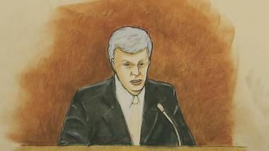 DJ David Mueller habla durante el juicio contra Taylor Swift en el Tribunal Federal de Denver.