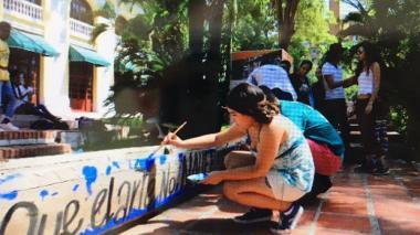 Estudiantes de Bellas Artes protestaron para exigir agilizar obras de reconstrucción