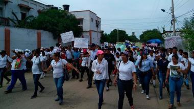 Protestas en la comunidad de Calamar, en el departamento de Bolívar.