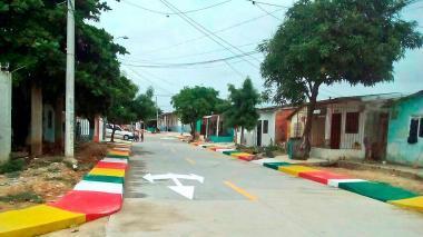 Uno de los tramos pavimentados en el barrio La Paz.
